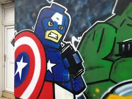 marvel lego street art at retro ink blackpool by dominic carlyle marvel lego captain america street art blackpool by dominic carlyle