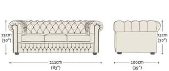 Chesterfield  Seater Sofa Bed From Sofas By Saxon UK - Sofa bed dimensions