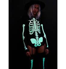 Glow In The Dark Skeleton Costume Dolls Kill Glow In The Dark Skeleton Bodysuit Costume Dolls Kill