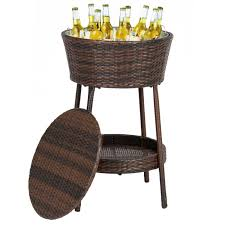 Outdoor Patio Cooler Cart wicker ice bucket outdoor patio furniture all weather beverage