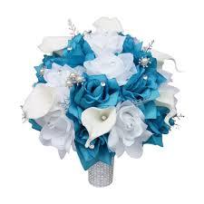 turquoise roses large bridal bouquet malibu turquoise white silver