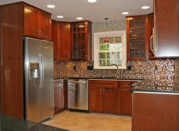 Traditional Kitchen Backsplash U Shape Kitchen Design Ideas Using Solid Red Cherry Wooden Kitchen