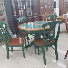 pc dining set round table tile inlay top green finish