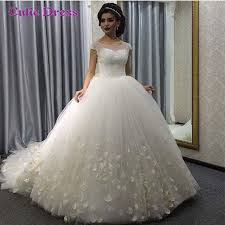 luxurious wedding dress 2016 scoop sparkly beading top ball gown