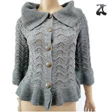 new korean stylish fancy gray lapel ruffle knitting pattern
