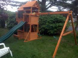 exterior exciting backyard design with oak wood gorilla playsets