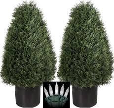 two 30 inch artificial cedar cypress wide cone outdoor topiary