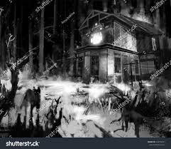 old wooden grungy dark evil haunted stock illustration 434156251