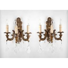 Wall Sconces With Switch Pr 19th C Bronze Baroque Style Wall Sconces Hung With Crystal