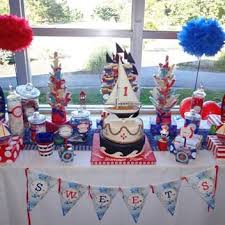 Nautical Party Theme - nautical table decorations away at this red white blue