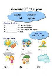 seasons and weather worksheet by laura cordoba