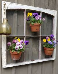 Unique Garden Decor Garden Decor With Pansies Flowers In Pots Hanging On The Old