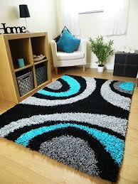 Silver Grey Rug Small Extra Large Rug New Modern Soft Thick Black Silver Grey Teal