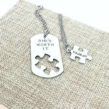 couples necklace she s worth it necklace set puzzle dog ta st