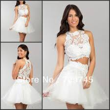 made high neck white lace mini two piece prom dresses evening