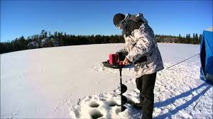 black friday ice auger strikemaster lithium lazer ice auger in real ice youtube