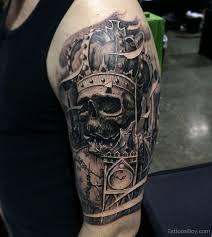skull and crown on half sleeve designs