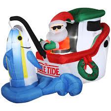 Holiday Blow Up Decorations Animated Airblown Santa Fishing Tuna Christmas Decoration