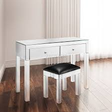 Bedroom Mirrored Furniture Foxhunter Mirrored Furniture Glass 2 Drawer Dressing Table Console