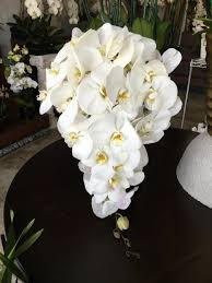 orchid bouquet white phalaenopsis orchid cascading wedding bouquet