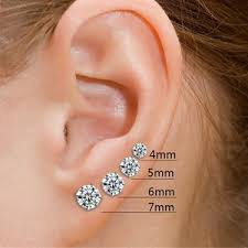 6mm stud earrings 925 sterling silver 4mm cz stud earrings unique fashion