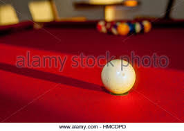 Red Felt Pool Table Billiards Pool Table With Balls Shadow And Light Stock Photo