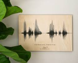 wood anniversary gift ideas 5 year wedding anniversary gift personalized sound wave on wood