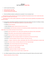 biology i cell test review answer key list the 3 parts of the cell