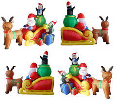 Lighted Sleigh And Reindeer by Home Santa Claus Sleigh U0026 Reindeer Christmas Lighted Inflatable