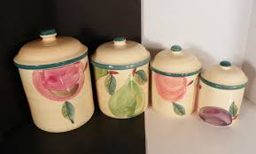 certified international fruit canister set 4 pc kitchen green trim