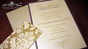 gold wedding invitations purple and gold wedding invitation with brocade belly band a