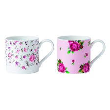 Modern Coffee Mugs Amazon Com Royal Albert Polka Blue And Polka Rose Mugs White