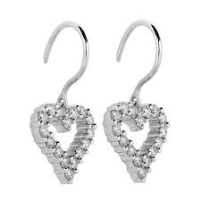 heart shaped earrings mazal diamond 0 54ct f i1 heart shaped diamond drop earrings