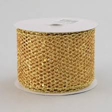 diamond mesh ribbon 2 5 glitter diamond mesh ribbon gold 10 yards rm937308