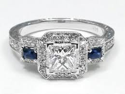 sapphire accent engagement rings 1 66 princess cut halo engagement ring blue sapphire