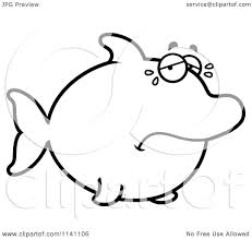 cartoon clipart of a black and white sad crying dolphin vector