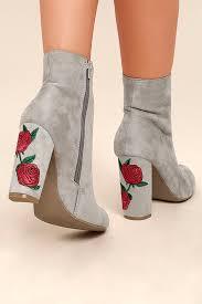 light grey suede boots cute light grey booties vegan suede booties embroidered booties