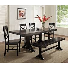 Dining Room Table Sets With Leaf Walker Edison Black 6 Piece Solid Wood Dining Set With Bench
