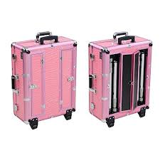rolling makeup case with lighted mirror reasejoy pro trolley cosmetic train case with light support mirror