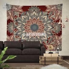 Bohemian TAPESTRY Burgundy red and dark teal mandala Wall hanging