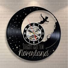 Home Decor Wall Clock Peter Pan Doll Movie Neverland Vinyl Home Decor Wall Art Gift