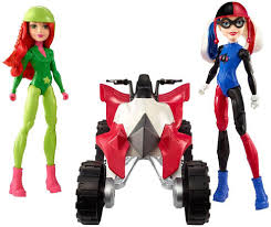 Kids Girls Dolls 4 Wheeler Dc Super Hero Girls Harley Quinn And Poison Ivy With Atv Figure