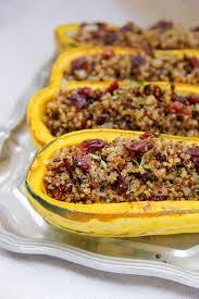quinoa thanksgiving recipes quinoa and cranberry stuffed delicata squash a little rosemary