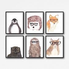 geek animal prints set of 6 watercolor animals sloth penguin otter