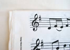 ikea cotton fabric with musical notes drawings 3 yards black and