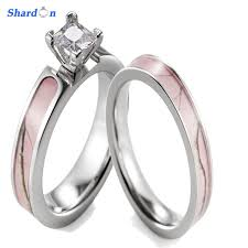 camo wedding bands shardon pink camo ring set women titanium 4 prong setting cz