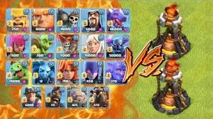 clash of clans all troops video all troops vs level 5 inferno tower clash of clans new