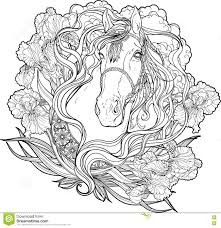 horse with clouds flowers and leaves coloring page stock vector