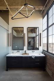 Industrial Style Bathroom Vanity by Master Bathroom With Modern Chandelier In Denver By Robb Studio
