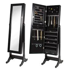 Jewelry Storage Cabinet Mirrored Jewelry Cabinet Armoire W Stand Mirror Rings Necklaces
